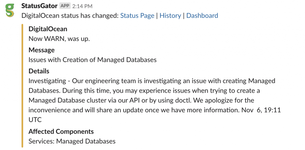 StatusGator status page change notification inside Slack, displaying an outage at Digital Ocean which affects the Managed Databases component.