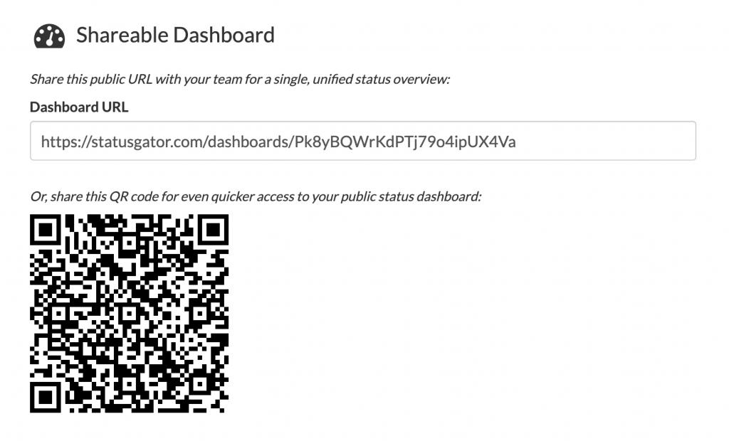 Screenshot of StatusGator Notifications page displaying private dashboard URL.