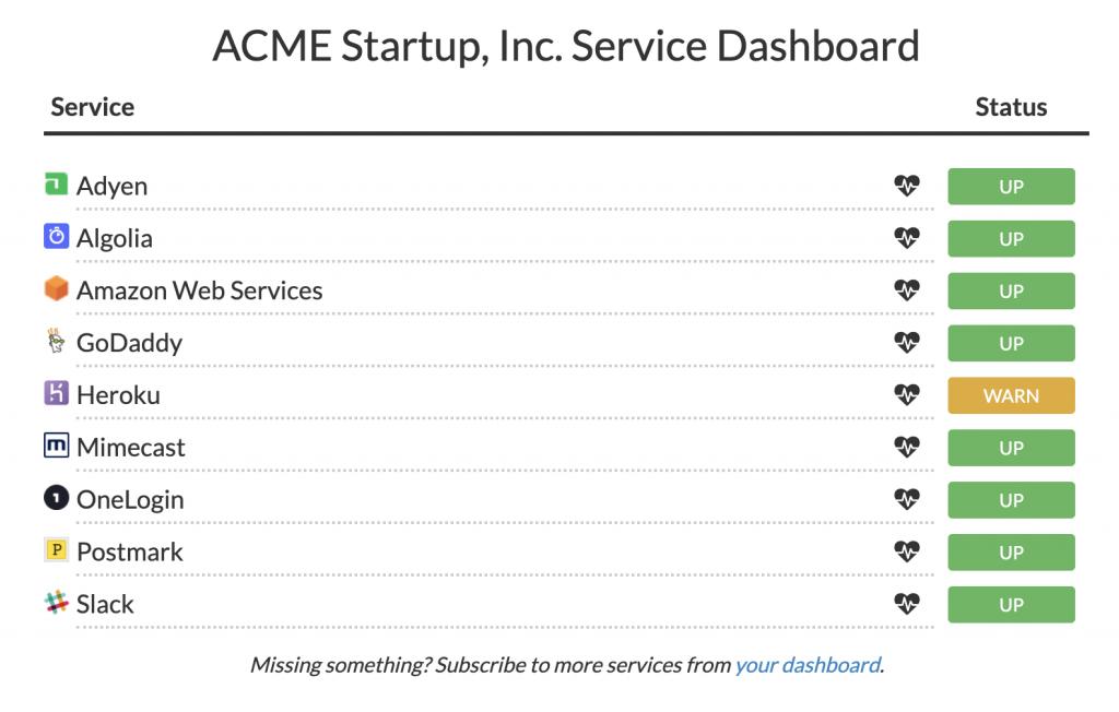 Screenshot of a sample aggregated status dashboard provided by StatusGator.