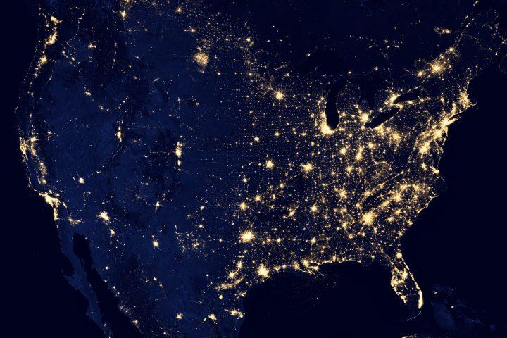 Satellite image of the US at night