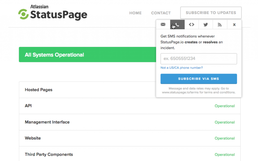 Screenshot showing StatusPage, a popular status page tool for DevOps