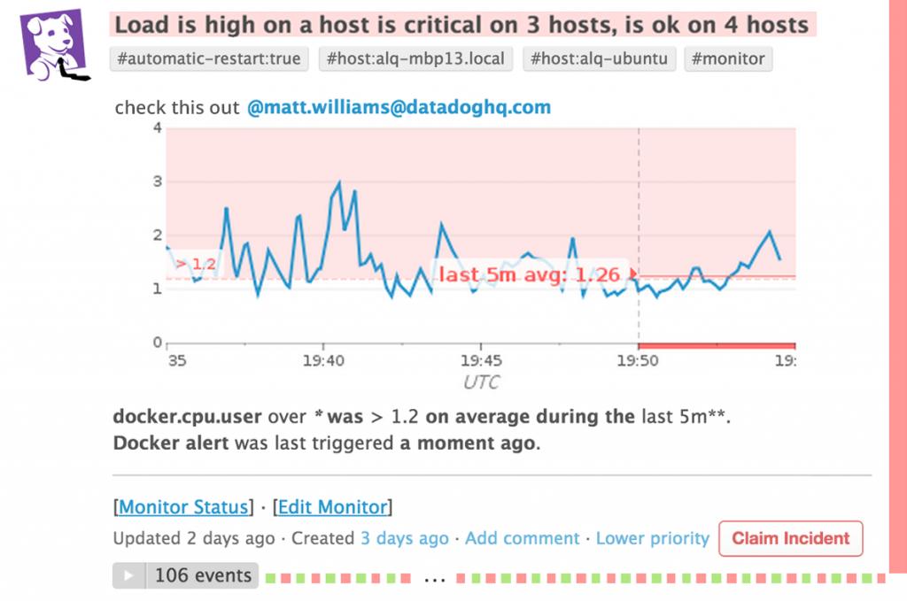 Datadog screenshot showing Slack integration for DevOps