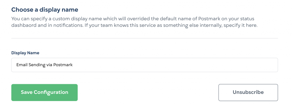 StatusGator Display Name entry form. You can now edit the name of a service in your dashboard with this feature.